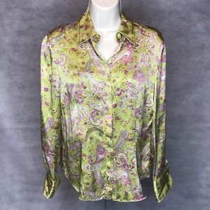 Vintage Starington Silk Paisley Long Sleeve Blouse